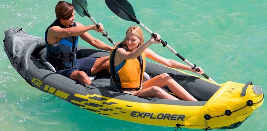 Canoë Explorer K2 Kayak pour Deux Personnes avec Rames